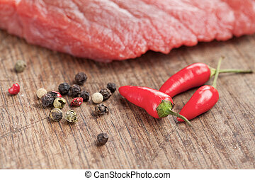 raw beef steak and chilli pepper