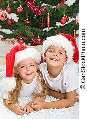 Christmas portrait of happy kids