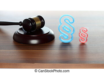 court room symbol with gavel and paragraph