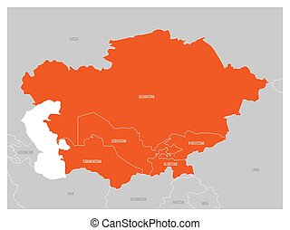 Map of Central Asia region with orange highlighted Kazakhstan, Kyrgyzstan, Tajikistan, Turkmenistan and Uzbekistan. Flat grey map with country white borders