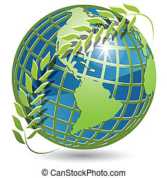 globe with wreath - illustration, globe in green wreath on...