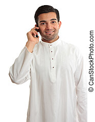Smiling man using phone - Smiling ethnic business man using...