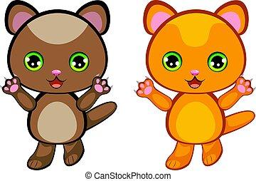 Ginger Kitten Cartoon - Funny ginger kitten with big green...