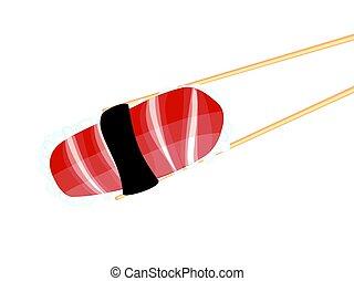 Chopsticks Holding Sushi - Japanese cousin, tasty sushi...