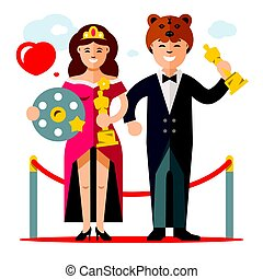 Vector Cinema Award. Best Actor and Actress. Flat style...