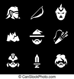 Vector Set of Halloween Monsters Icons. - Elf, bow, orc,...
