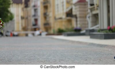 Couple meeting on romantic date in the city street - Low...