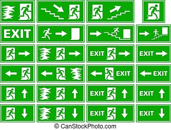 vector symbol set - emergency exit sign - fire alarm plate - person escaping flames through door