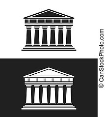 Parthenon architecture greek temple icon isolated on white...