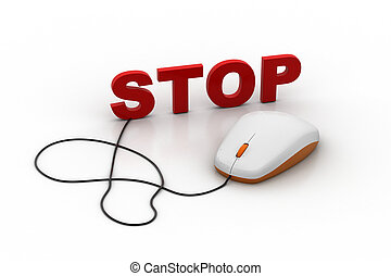 computer mouse connect with word stop