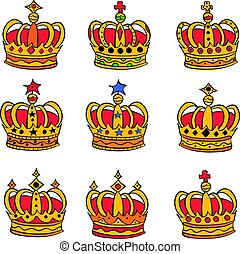 Collection king crown of doodles
