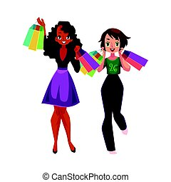 Happy black and Caucasian women, girls, friends with shopping bags