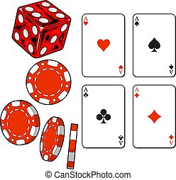 Heart, spade, clubs, diamond ace cards, dice and gambling chips