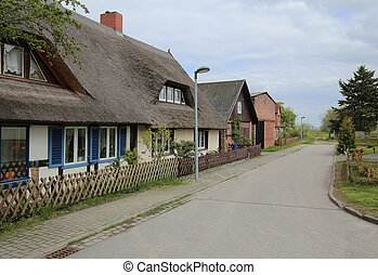 Street of a residential area in Hohendorf, Germany