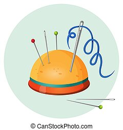 Pincushion with needles and pins or thimbles vector...
