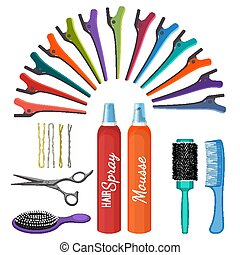 Set of hairdressing tools vector illustration isolated on...