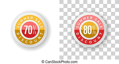 Summer Sale Sticker 70 and 80 percent discount in yellow and red color