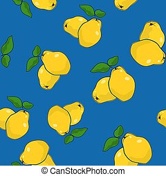 Seamless Pattern , Quince on Blue Background - Seamless...