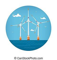 Icon Wind Turbines at the Sea - Round Icon Wind Turbines at...