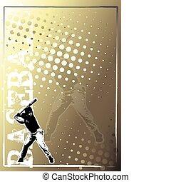 dorado,  2, beisball, Plano de fondo, cartel