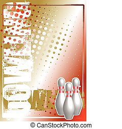 bowling golden poster background - three bodys on the golden...