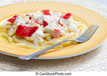 chopped macaroni with surimi