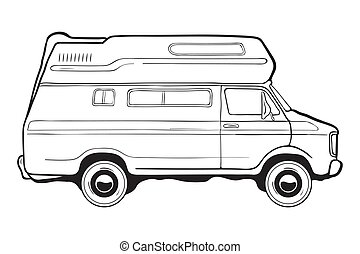 Camping trailer car, side view. Black and white vector...