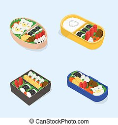 Set of different bento. Japanese lunch boxes collection....