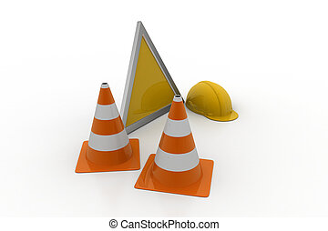 Traffic cone with hard hat