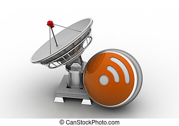 Creative concept icon of satellite dish for internet