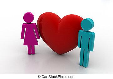 3d people in love