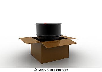 Oil barrel with box