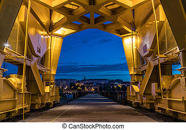 Under the yellow crane titan by night in Nantes, France