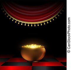 pot of gold in the dark - abstract dark room awith red drape...