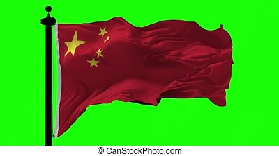 Flag of China on Green - Flag of China blowing on the wind...