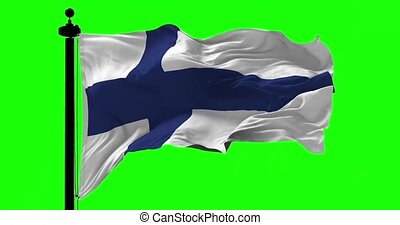 Finland Blowing Flag on Green - Finland flag blowing on the...