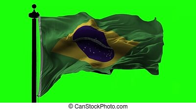 Brazilian Flag on Green - Flag of Brazil blowing on the wind...
