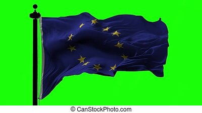 Europe Union Flag on Green - Flag of Europe Union blowing on...