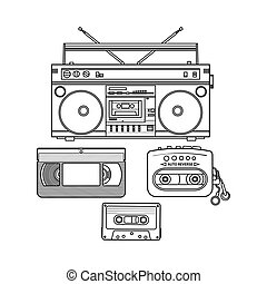 Retro audio cassette, tape recorder, music player, videotape...