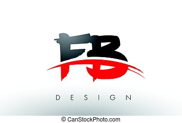 FB F B Brush Logo Letters with Red and Black Swoosh Brush...
