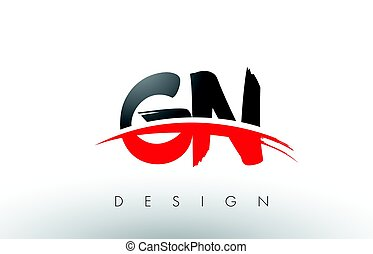 GN G N Brush Logo Letters with Red and Black Swoosh Brush...