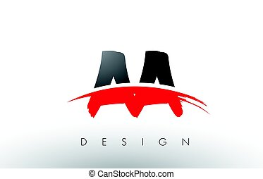 AA A Brush Logo Letters with Red and Black Swoosh Brush...