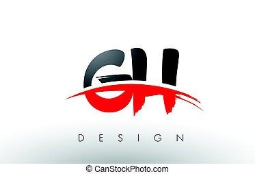 Cartas, G, H, negro, cepillo, swoosh, frente, logotipo,...