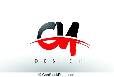CY C Y Brush Logo Letters with Red and Black Swoosh Brush...