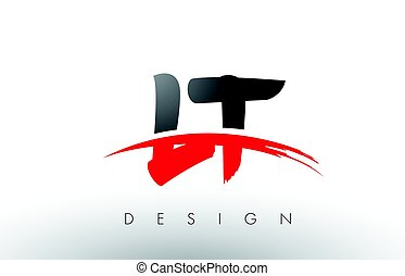 LT L T Brush Logo Letters with Red and Black Swoosh Brush...