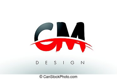 CM C M Brush Logo Letters with Red and Black Swoosh Brush...