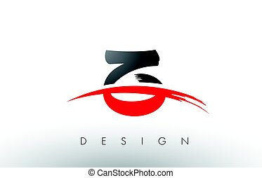 Z Brush Logo Letters with Red and Black Swoosh Brush Front -...