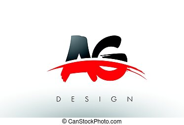 AG A G Brush Logo Letters with Red and Black Swoosh Brush...