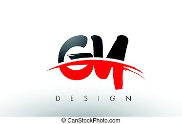 GY G Y Brush Logo Letters with Red and Black Swoosh Brush...