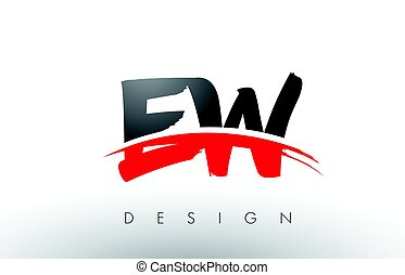 EW E W Brush Logo Letters with Red and Black Swoosh Brush...